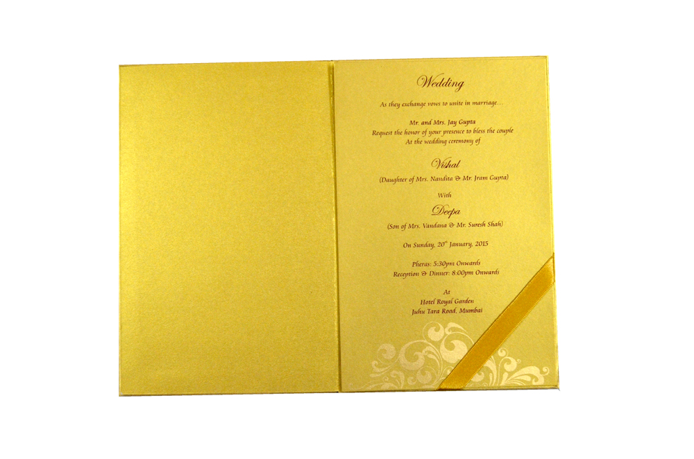 Designer Laser Cut Wedding Card MCC 6662 Top Inside View