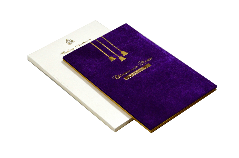 Purple Velvet Wedding Card MCC 6670
