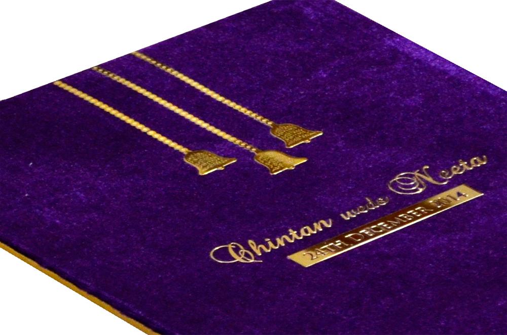 Purple Velvet Wedding Card MCC 6670 Zoom View