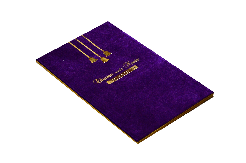 Purple Velvet Wedding Card MCC 6670 Card