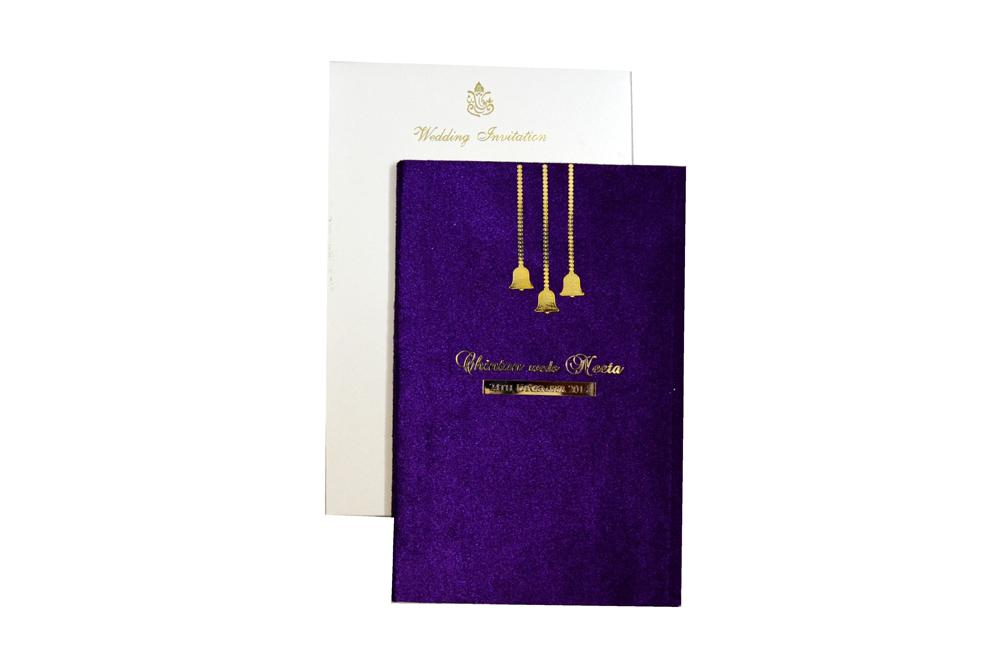 Purple Velvet Wedding Card MCC 6670 Top View