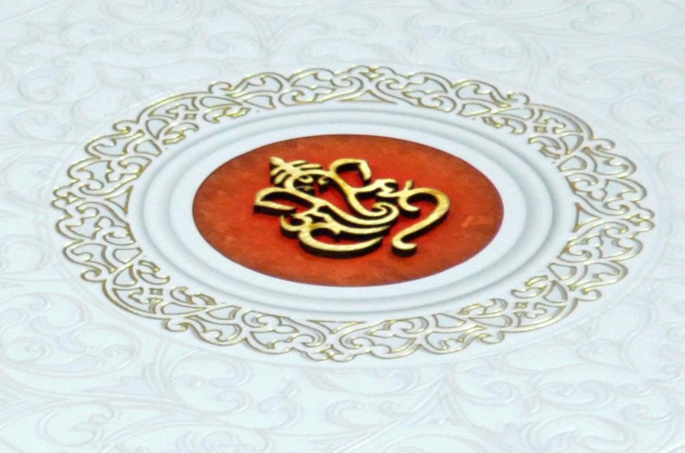 Hindu Padded Wedding Card MCC 6671 Zoom View