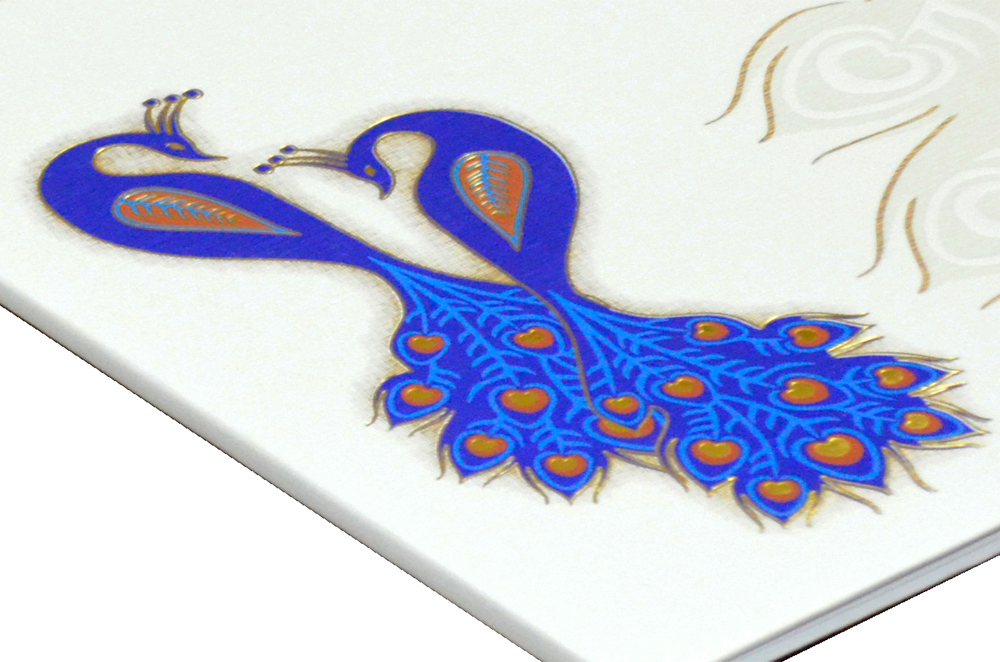 Padded Peacock Theme Wedding Card MCC 6677 Zoom View