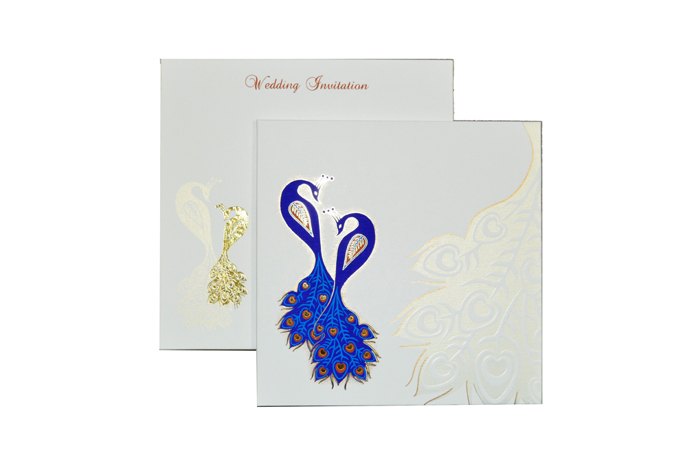 Padded Peacock Theme Wedding Card MCC 6677 Top View