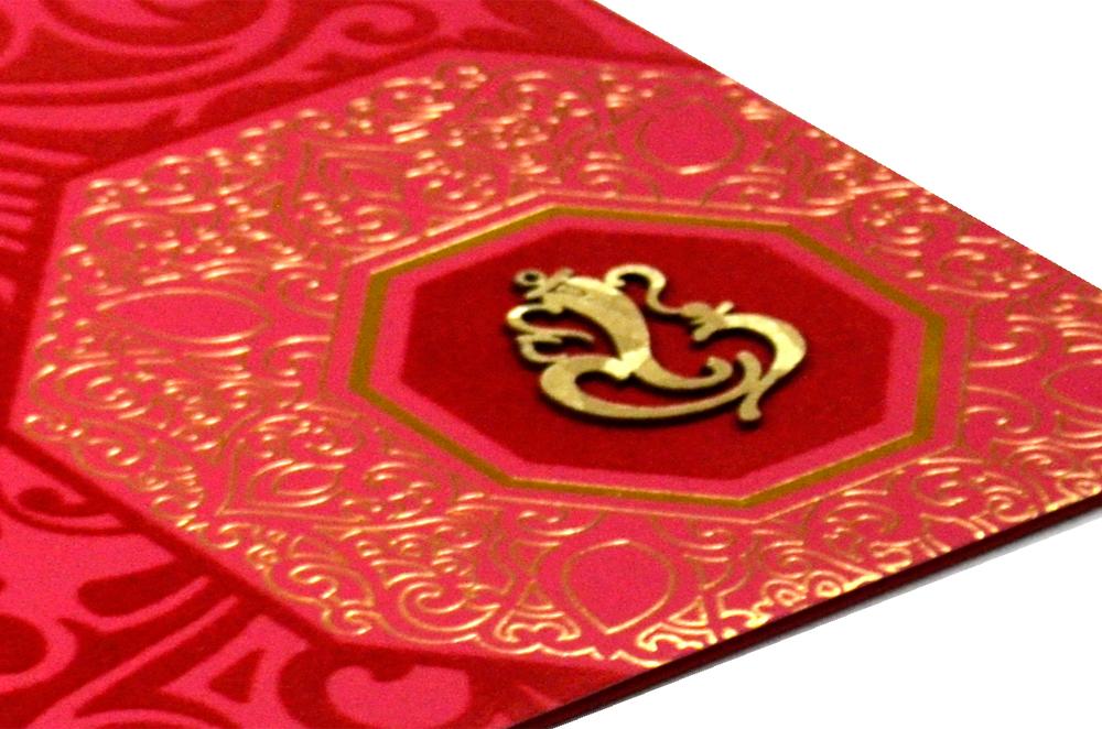 Red Hindu Designer Card PP 8137 Zoom View