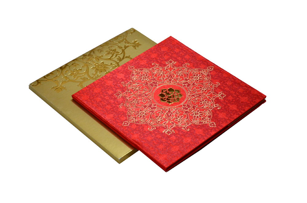 Red Satin Cloth Hindu Wedding Card PP 8246