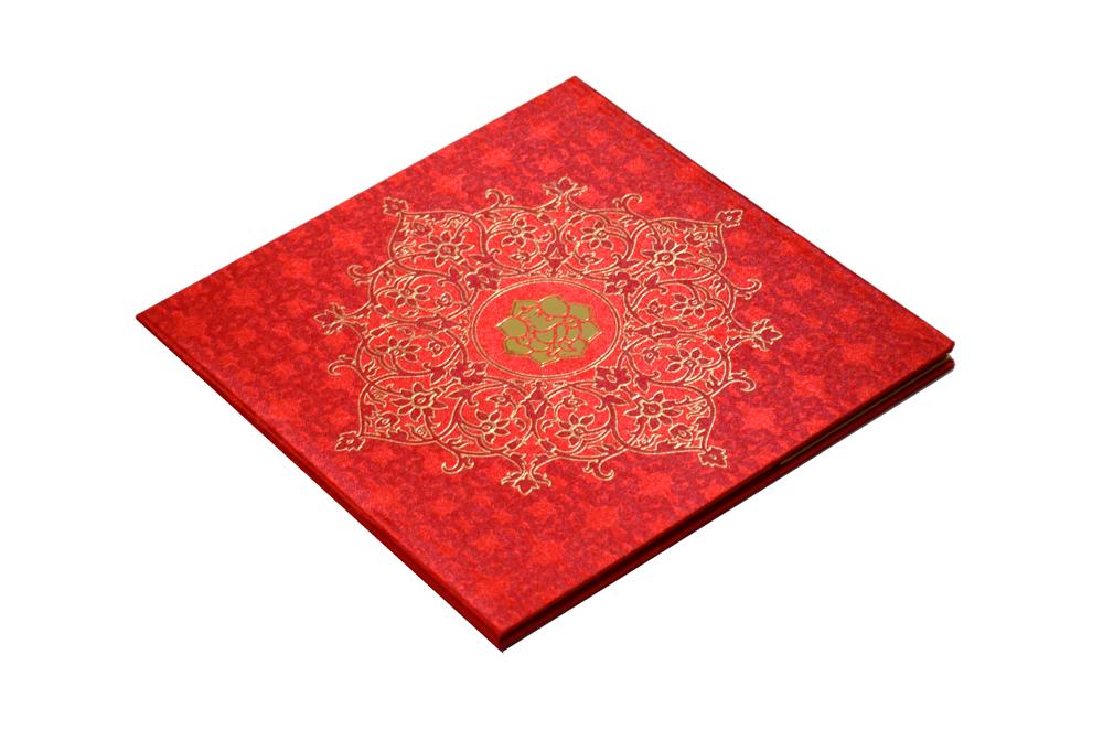 Red Satin Cloth Hindu Wedding Card PP 8246 Card