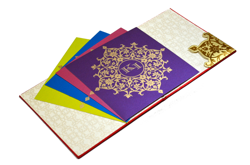 Red Satin Cloth Hindu Wedding Card PP 8246 Inside View 2