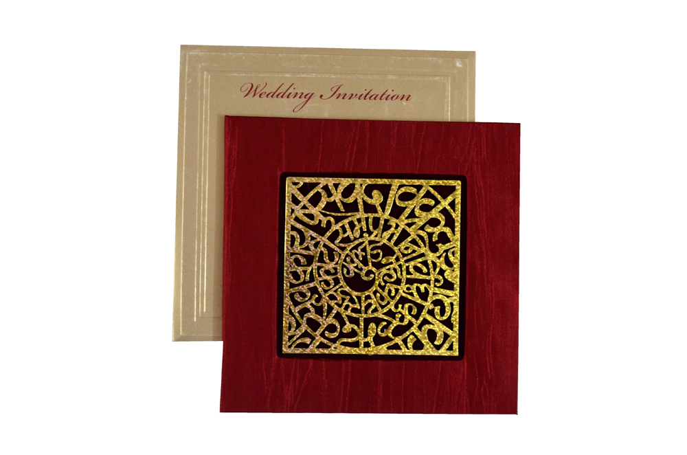 Laser Cut Wedding Card PYL 075 RED Top View