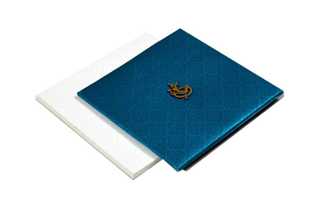 Blue Satin Cloth Hindu Wedding Card PYL 086