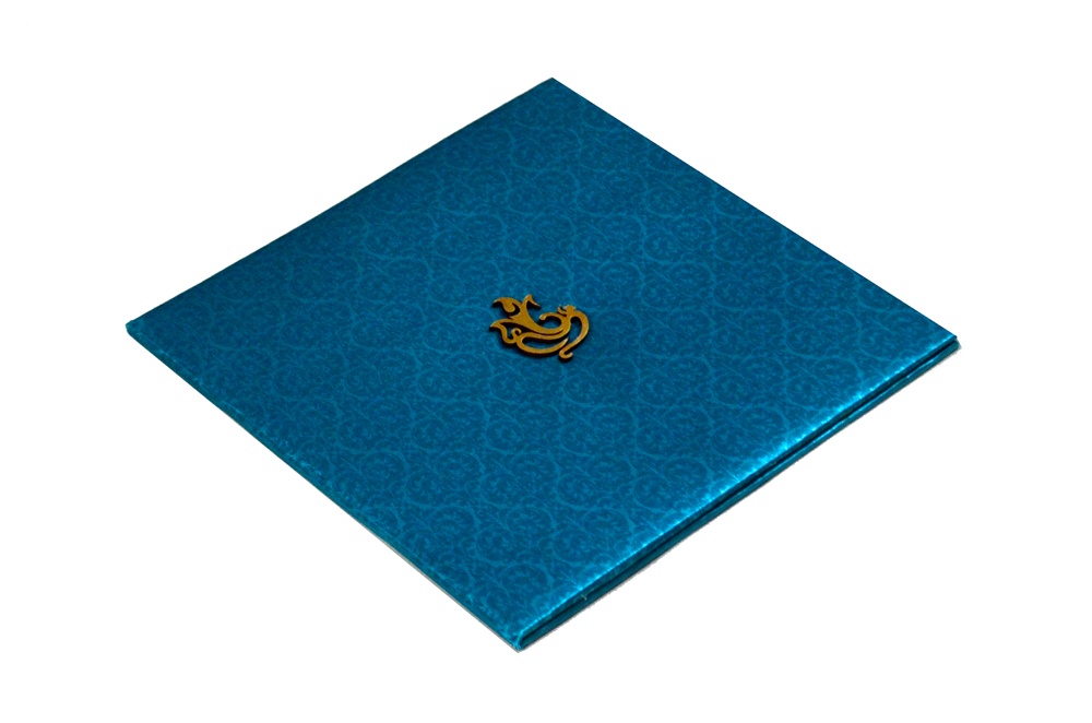 Blue Satin Cloth Hindu Wedding Card PYL 086 Card