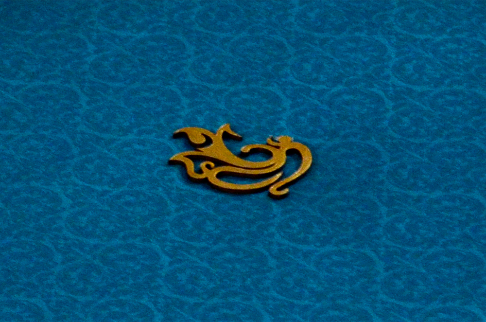 Blue Satin Cloth Hindu Wedding Card PYL 086 Zoom View