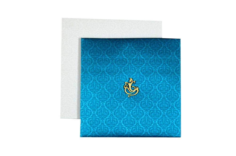 Blue Satin Cloth Hindu Wedding Card PYL 086 Top View