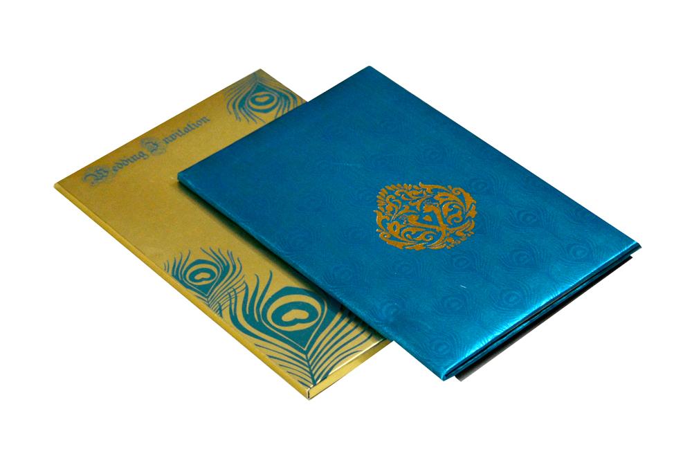 Blue Satin Cloth Designer Wedding Card PYL 116