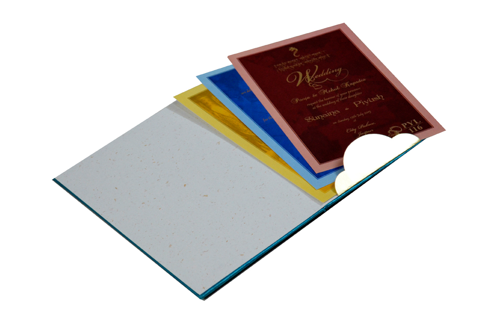 Blue Satin Cloth Designer Wedding Card PYL 116 Inside View