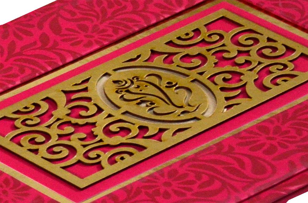 Hindu Laser Cut Wedding Card PYL 146 Zoom View