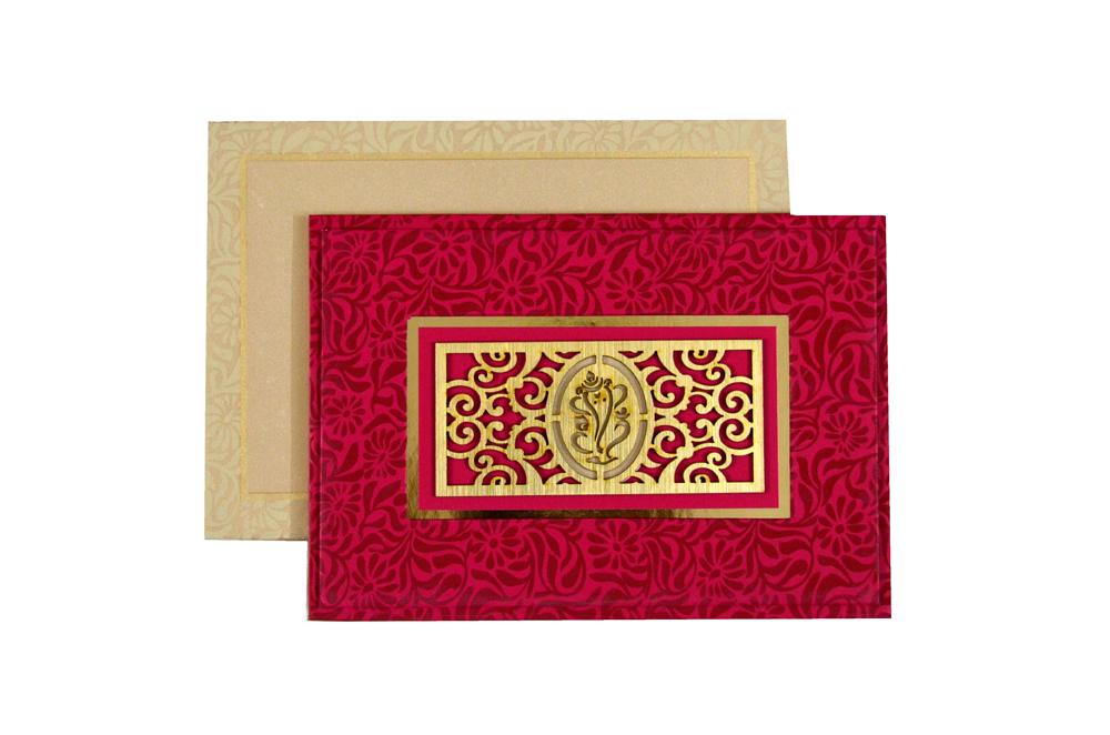 Hindu Laser Cut Wedding Card PYL 146 Top View