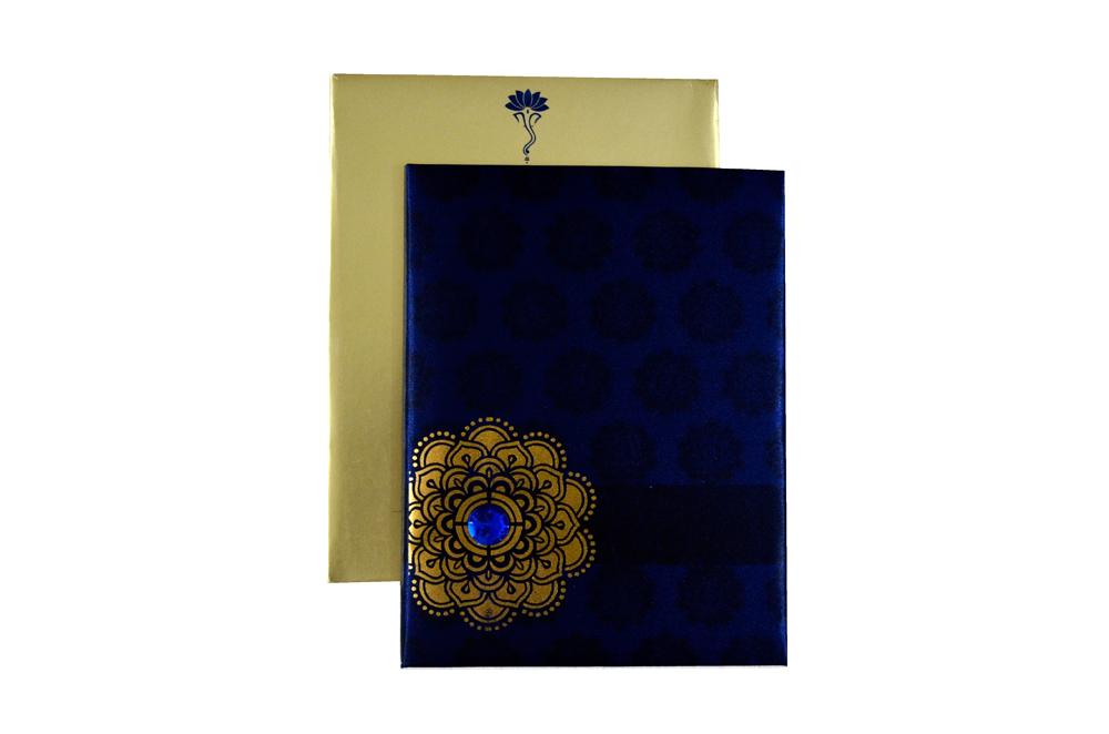 Blue Satin Cloth Wedding Card PYL 153 Top View