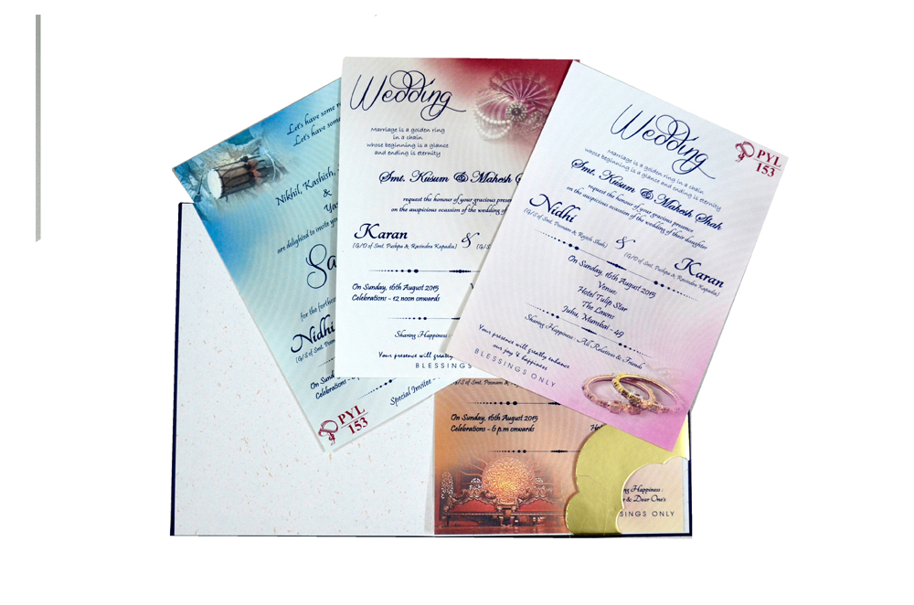 Blue Satin Cloth Wedding Card PYL 153 Top Inside View
