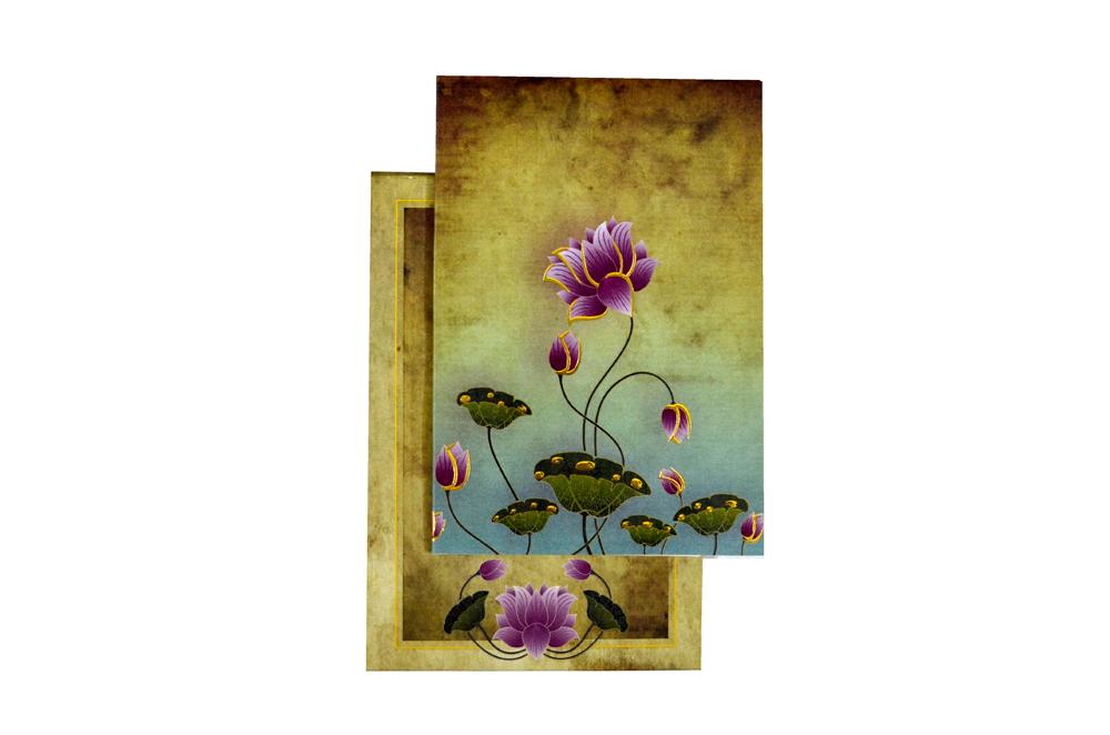 Lotus Theme Wedding Card PYL 4675 Top View