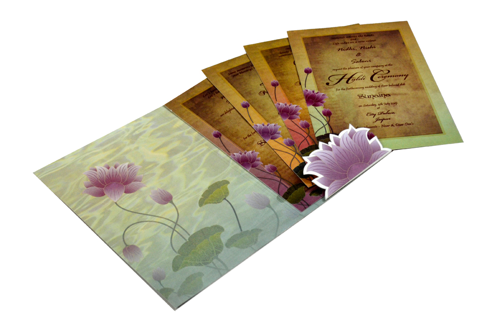 Lotus Theme Wedding Card PYL 4675 Inside View