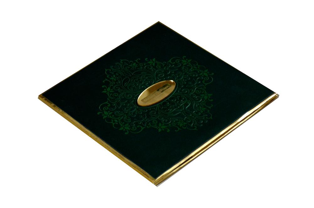 Padded Muslim Wedding Card PYL 5017 GREEN Card