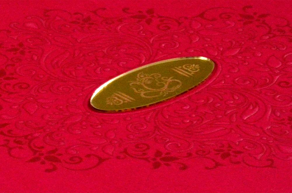 Padded Hindu Wedding Card PYL 5017 Zoom View