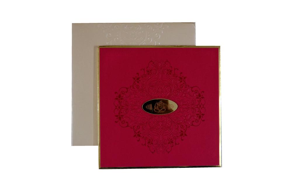 Padded Hindu Wedding Card PYL 5017 Top View