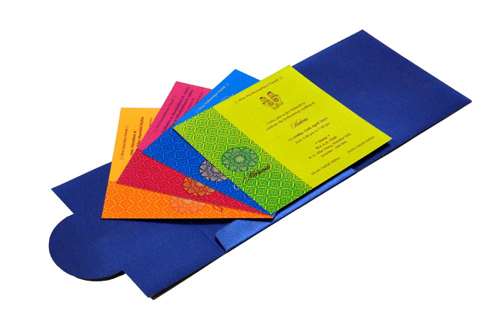 Designer Wedding Card RB 1141 BLUE Inside View