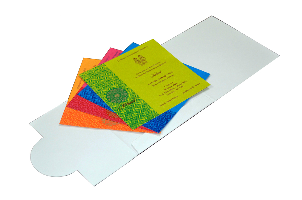 Designer Wedding Card RB 1141 WHITE Inside View
