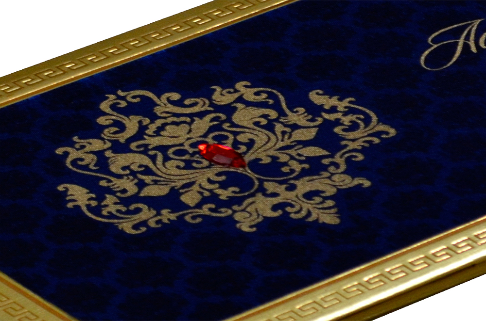 Designer Satin Cloth Wedding Card RB 1151 BLUE Zoom View
