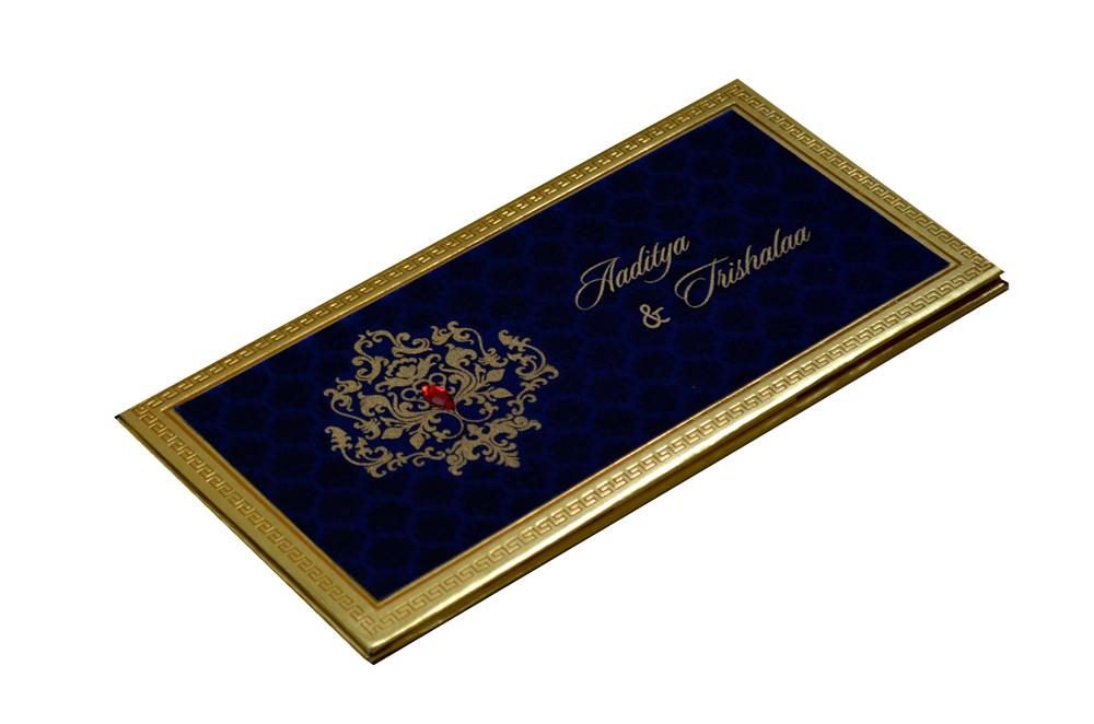 Designer Satin Cloth Wedding Card RB 1151 BLUE Card