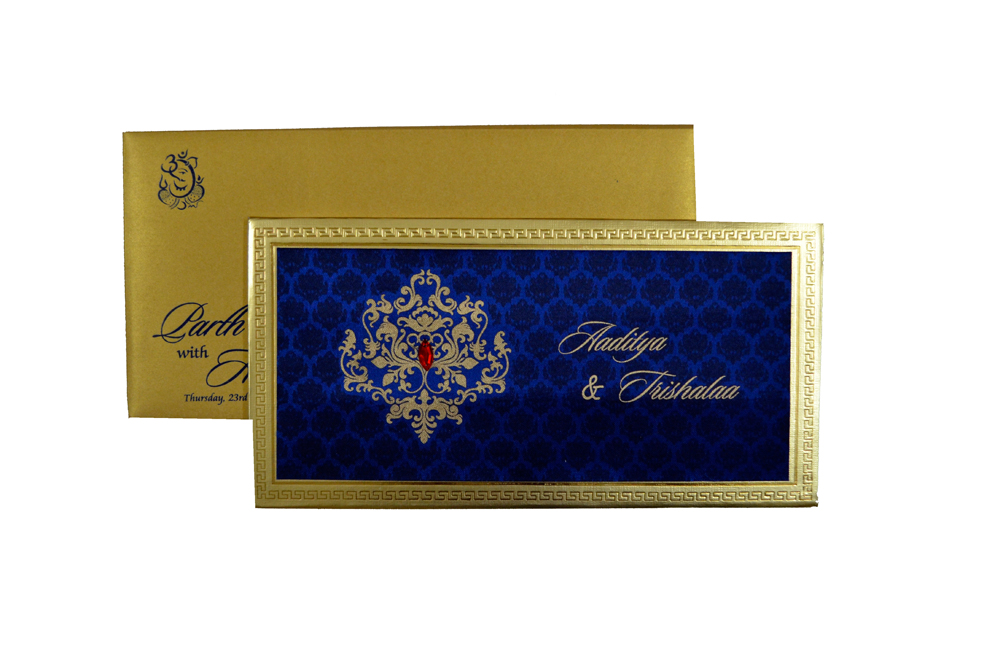 Designer Satin Cloth Wedding Card RB 1151 BLUE Top View