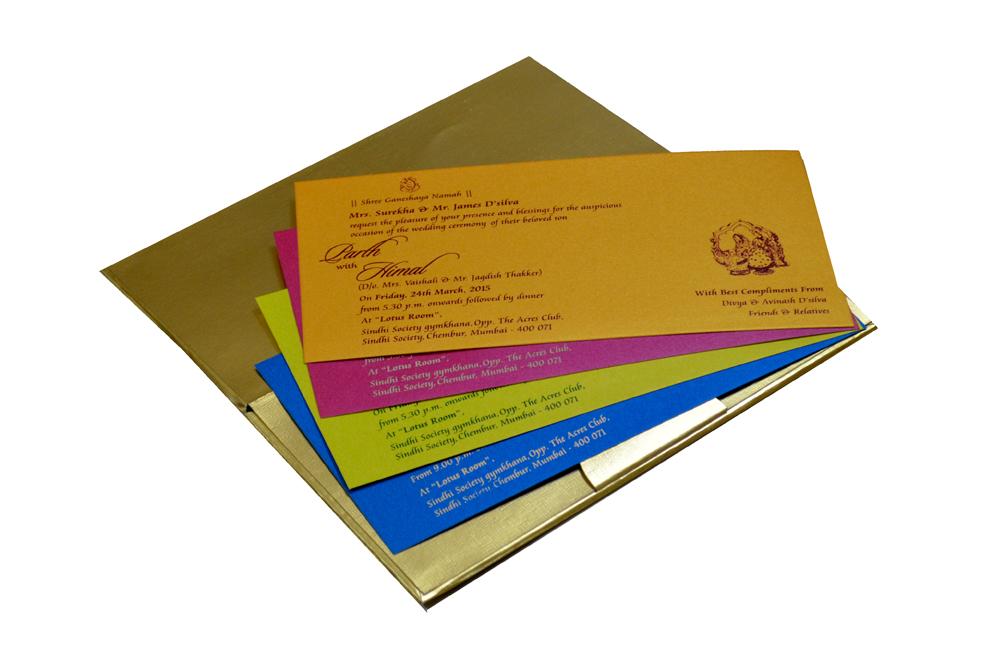 Designer Satin Cloth Wedding Card RB 1151 BLUE Inside View