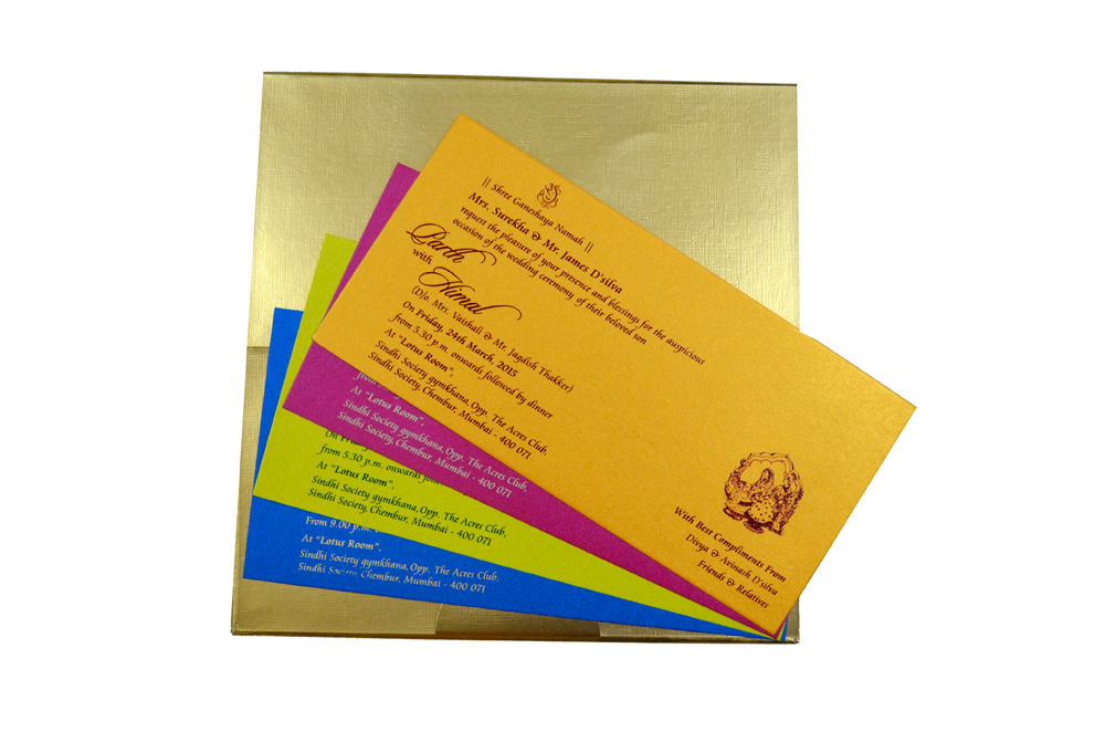 Designer Satin Cloth Wedding Card RB 1151 BLUE Top Inside View