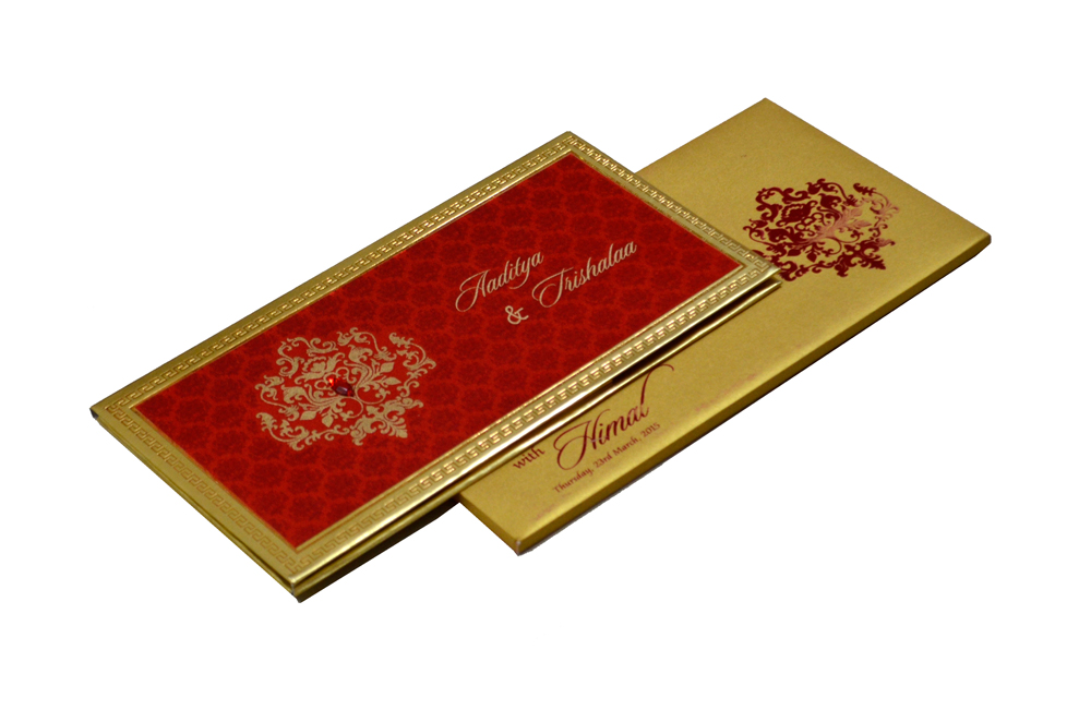 Designer Satin Cloth Wedding Card RB 1151 RED
