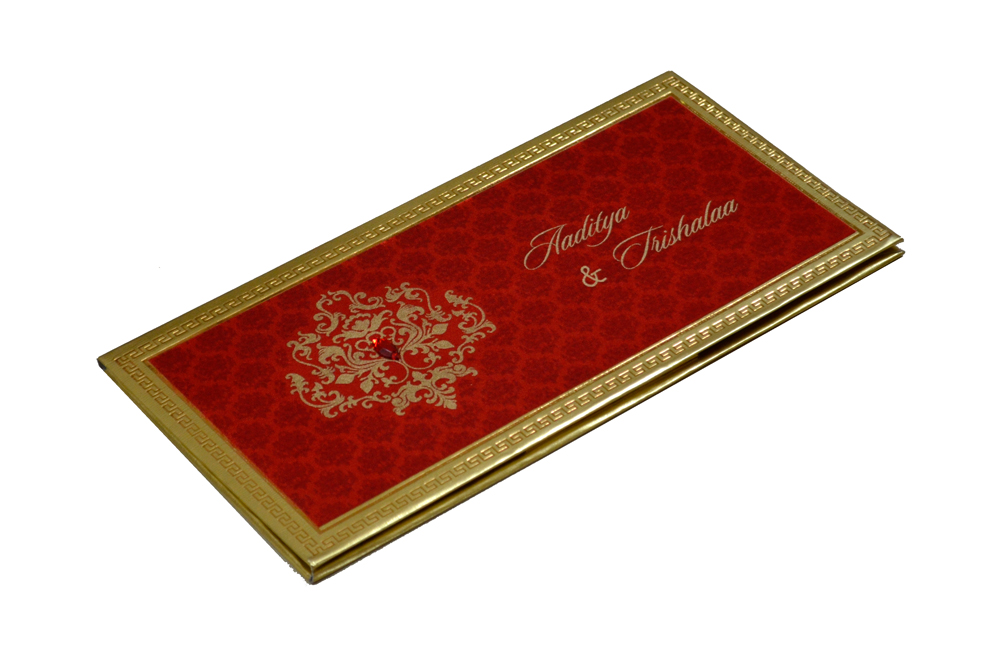 Designer Satin Cloth Wedding Card RB 1151 RED Card