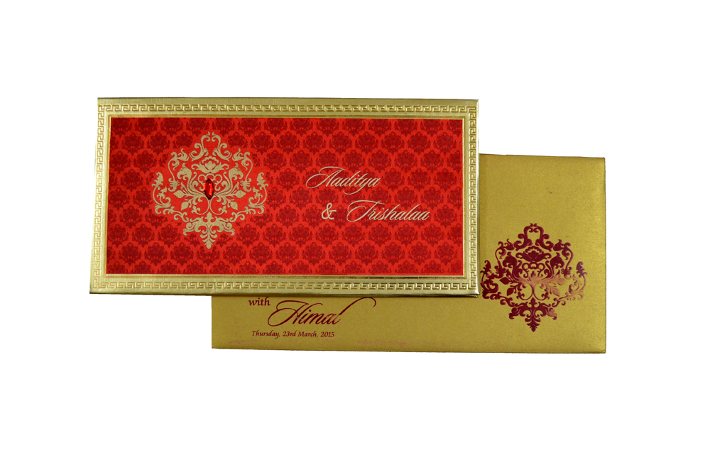 Designer Satin Cloth Wedding Card RB 1151 RED Top View