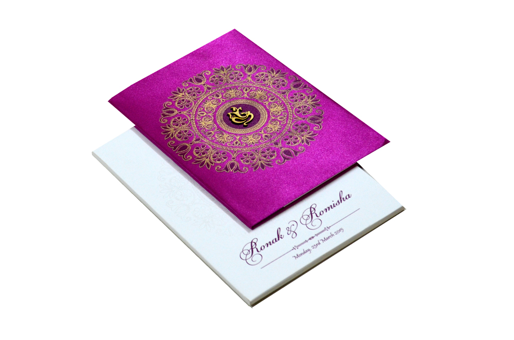 Hindu Satin Cloth Wedding Card RB 1172 PINK