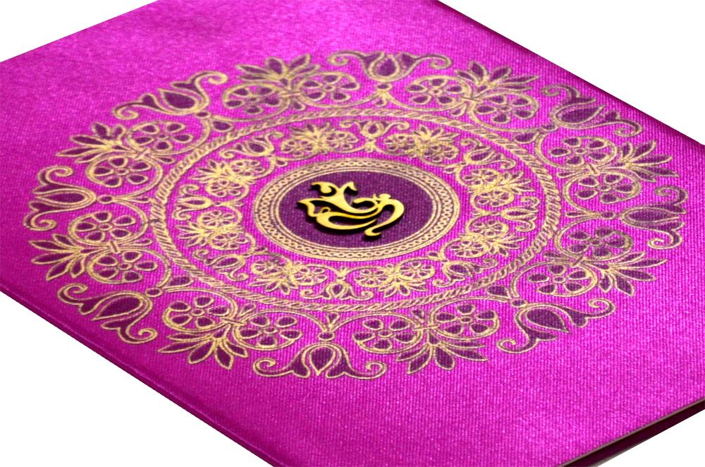 Hindu Satin Cloth Wedding Card RB 1172 PINK Zoom View