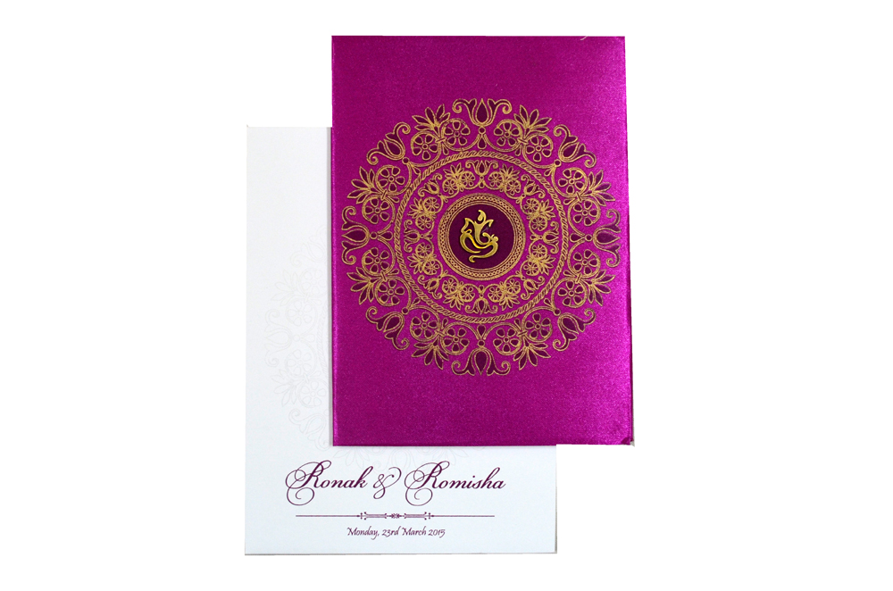Hindu Satin Cloth Wedding Card RB 1172 PINK Top View