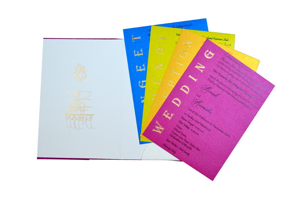 Hindu Satin Cloth Wedding Card RB 1172 PINK Top Inside View