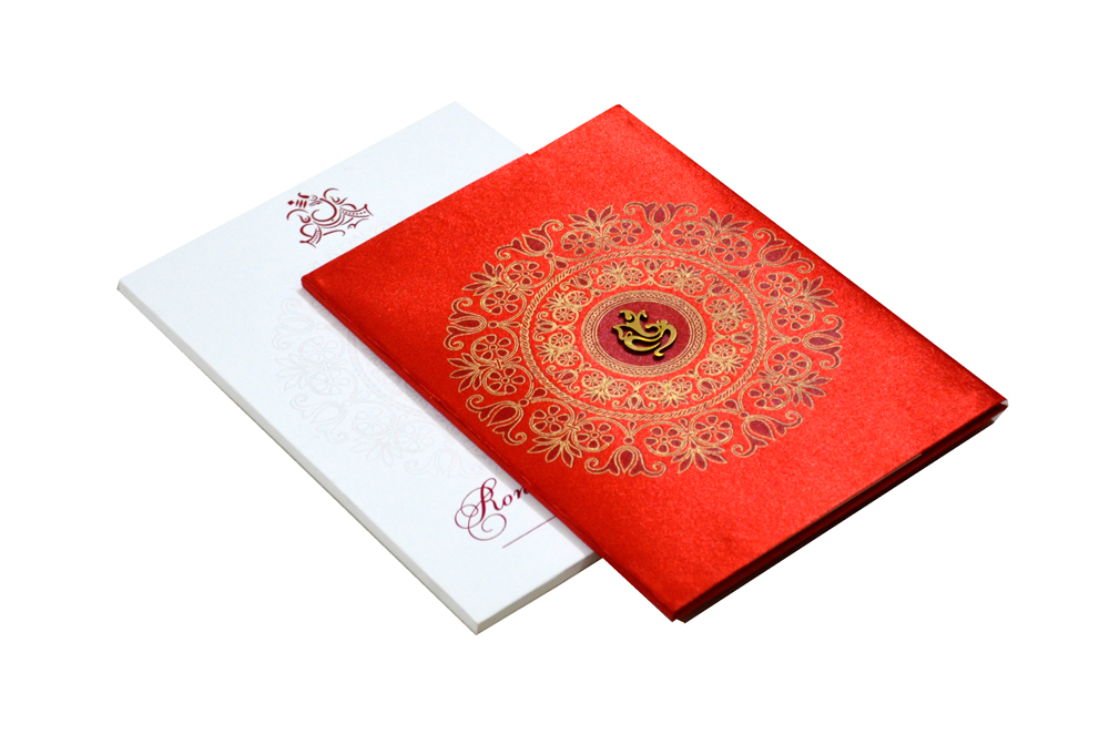 Hindu Satin Cloth Wedding Card RB 1172 RED