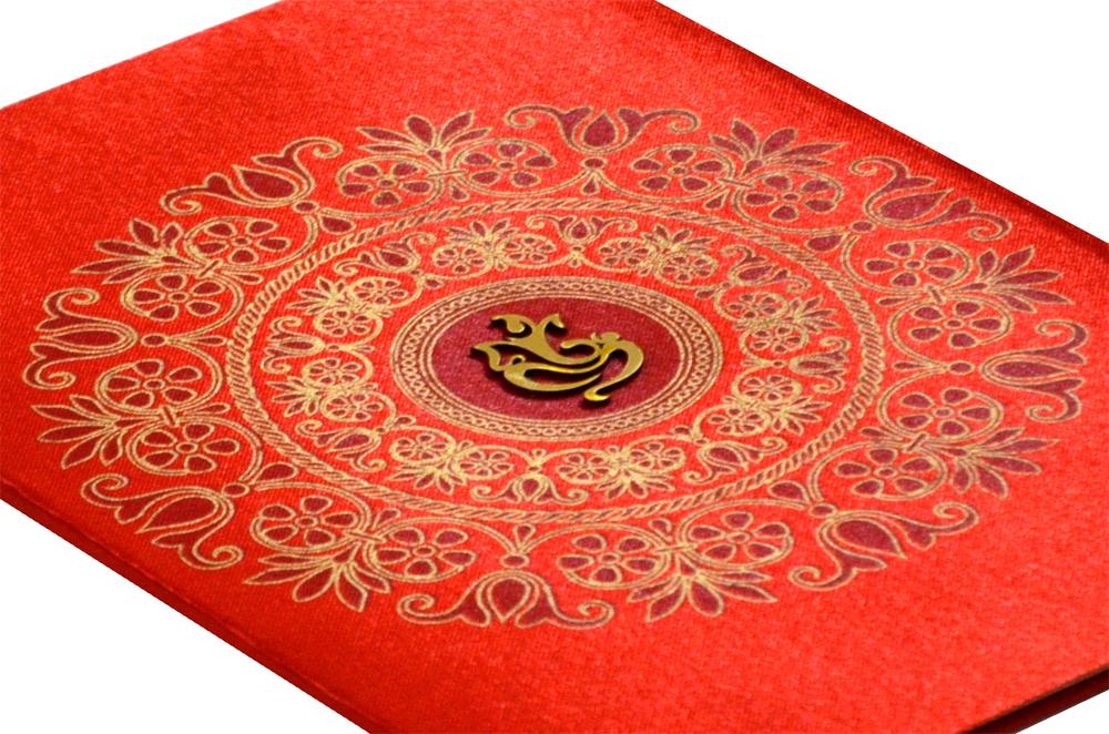 Hindu Satin Cloth Wedding Card RB 1172 RED Zoom View