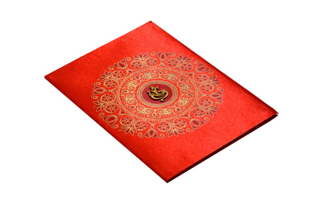 Hindu Satin Cloth Wedding Card RB 1172 RED Card