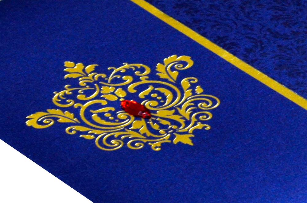 Designer Wedding Card RB 1208 BLUE Zoom View