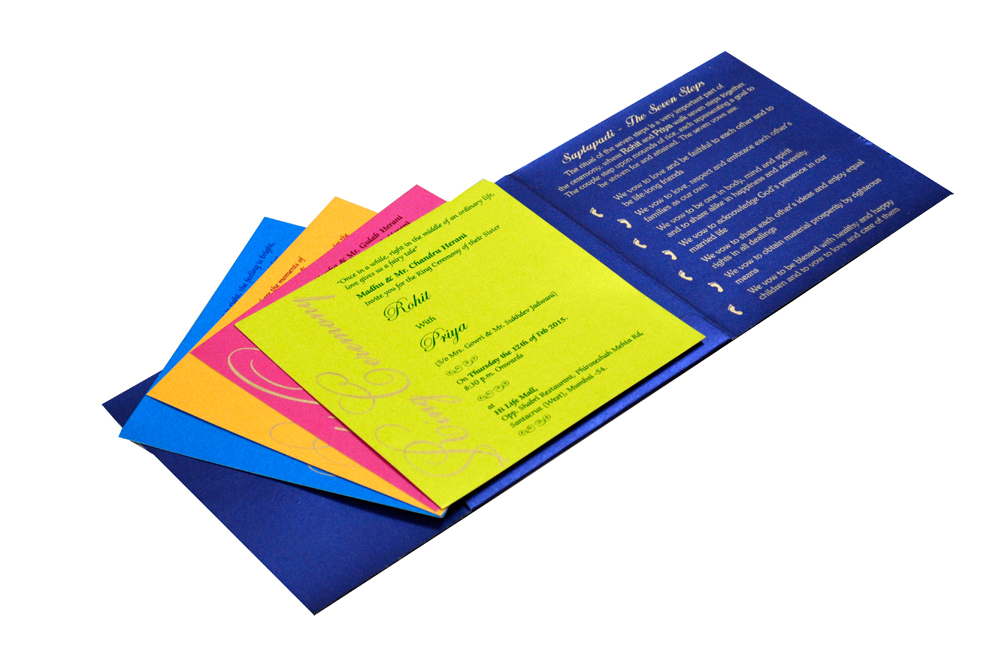 Designer Wedding Card RB 1208 BLUE Inside View