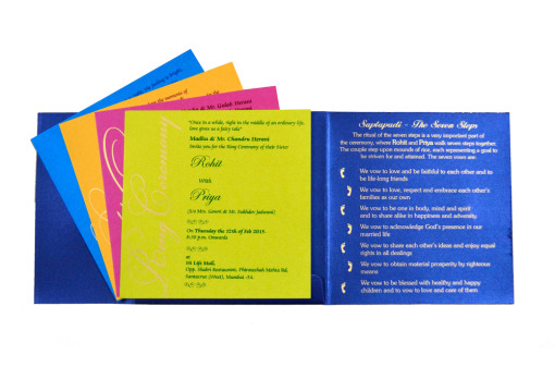 Designer Wedding Card RB 1208 BLUE Top Inside View