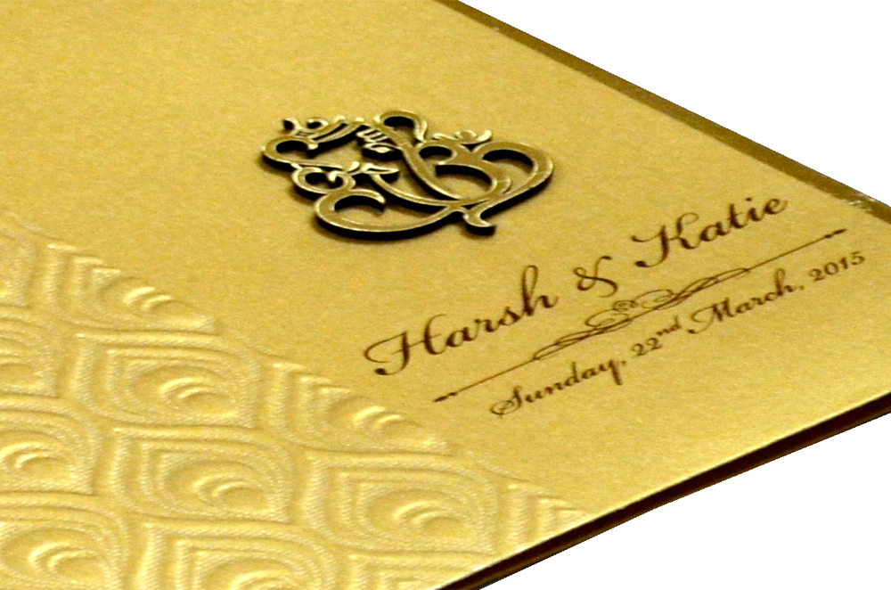 Hindu Wedding Card RB 1225 GOLD Zoom View