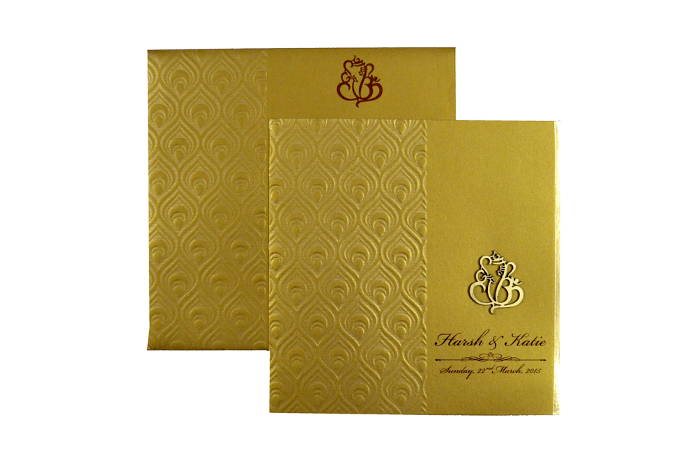 Hindu Wedding Card RB 1225 GOLD Top View